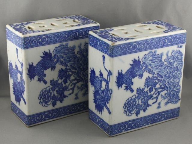 1014: A Pair of Chinese Blue and White Pillows