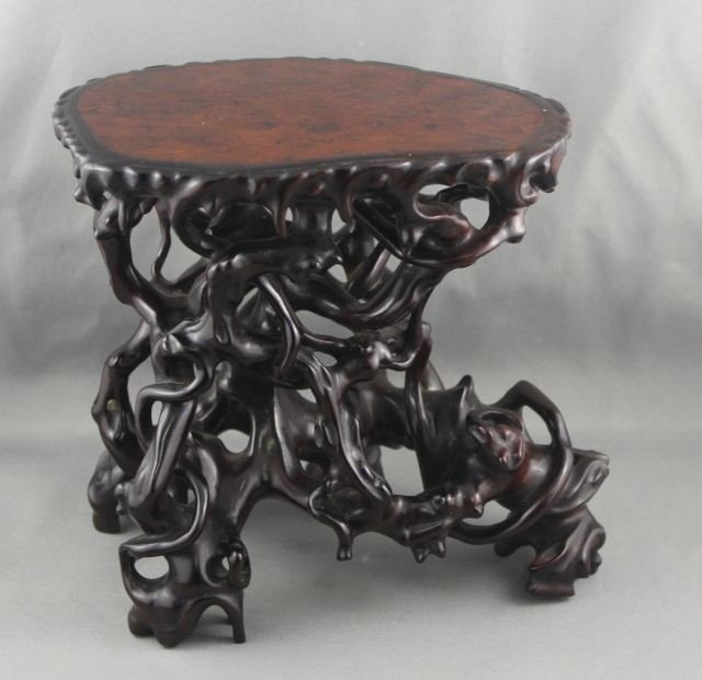 1017: Quality Chinese Rosewood and Elm Stand