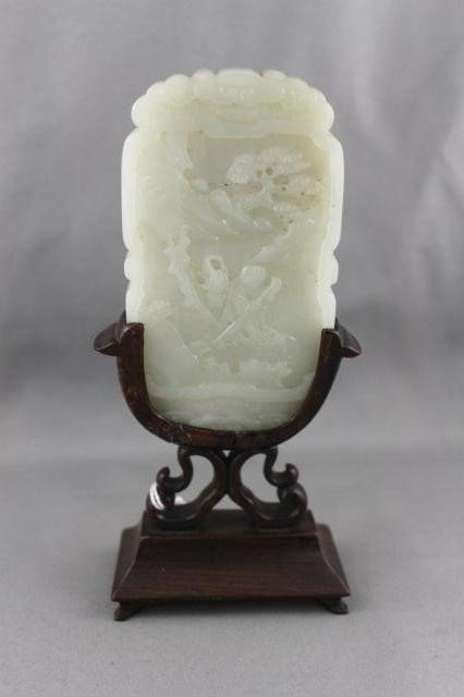 1019A: Good Chinese Qing White Jade Cover on Stand,