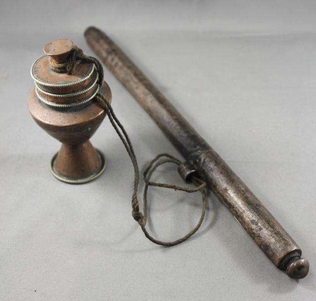 10: Tibetan Prayer Wheel and Scroll Holder,