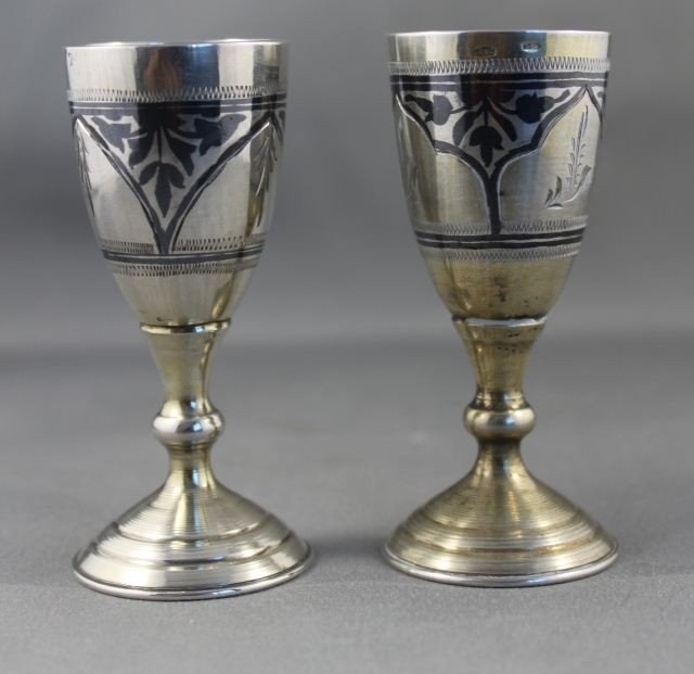 20: Pair of Russian Silver Nips,