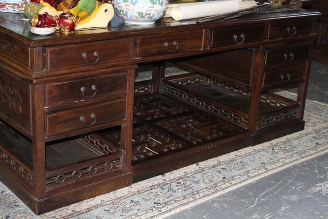 3: Superb Chinese Blackwood Twin Pedestal Desk,
