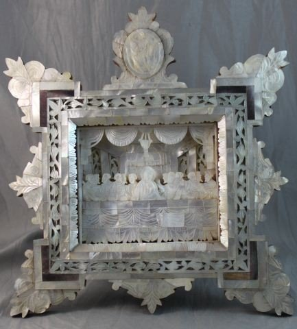 7: Good Russian Mother of Pearl Carved Scene,