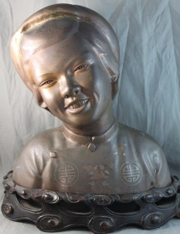 11: Chinese Bronze and Silver Inlaid Bust,