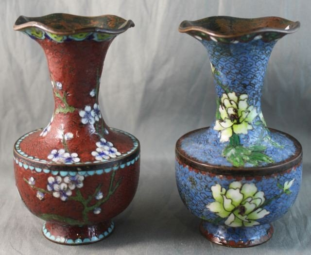 12: Pair of Chinese Cloisonné Vases,
