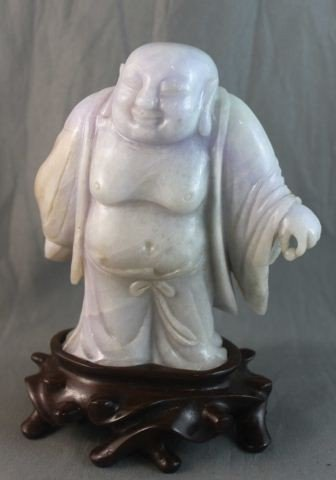 16: Good Chinese Carved Lavender Jade Buddha,