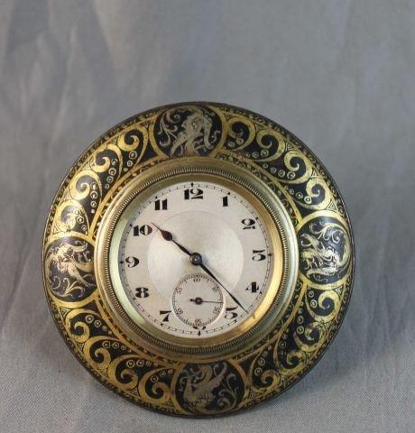 18: Good Swiss Gilt and Niello Bedside Clock,