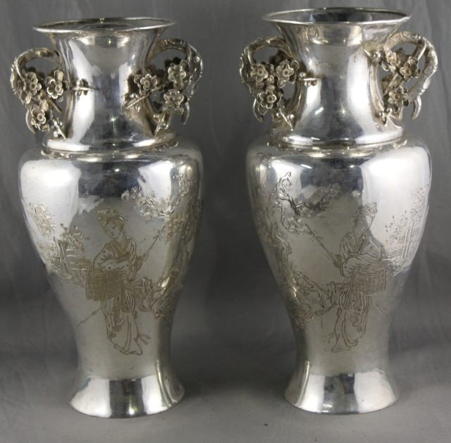67: Pair of Chinese Silver Vases,