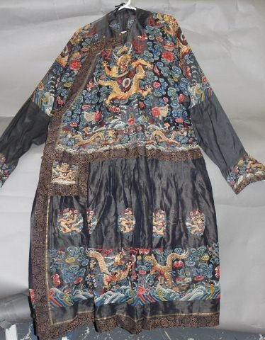 19A: Good Qing Dynasty Embroided Robe and Collar,c.1900
