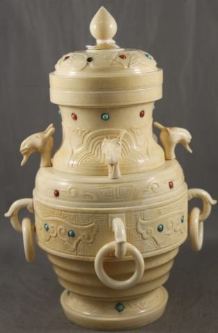 1: Good Chinese Ivory Jeweled Jar and Cover,