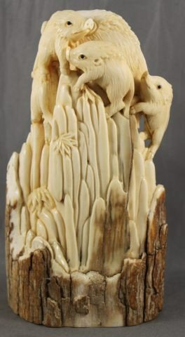 3: Chinese Carved Mammoth Ivory Figure Group,