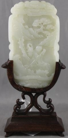 4: Good Chinese Qing White Jade Cover on Stand,