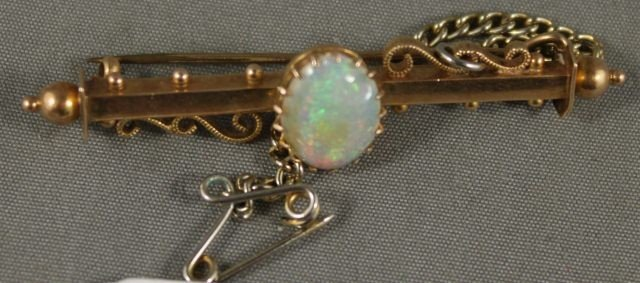 6: Victorian 15ct Gold and Opal Bar Brooch,