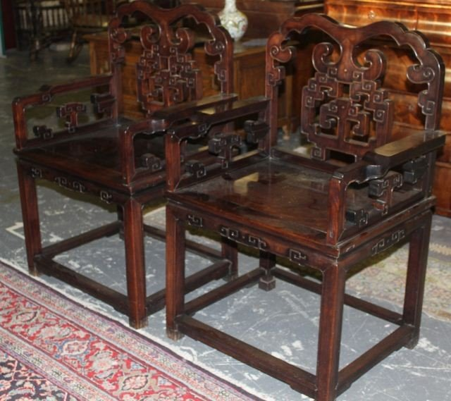 12A: Good Pair of Chinese Carved and Pierced  Armchairs