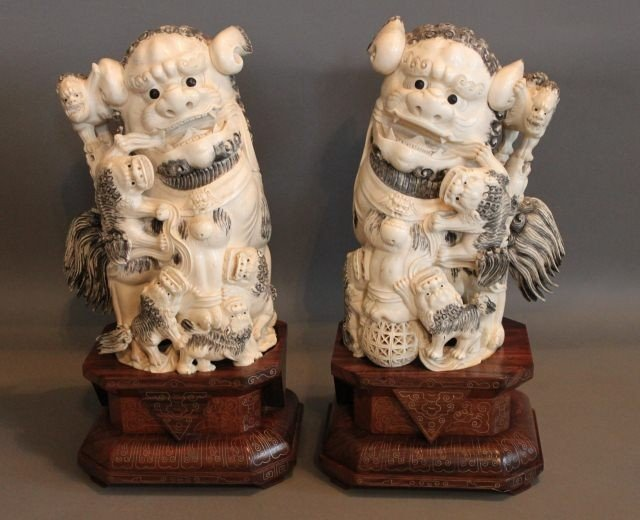 2: Pair of  Very Large Chinese Carved Ivory Kylins,