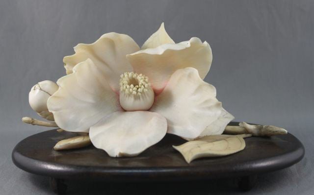 6: Fine Chinese Late Qing Dynasty Ivory Lotus Blossom