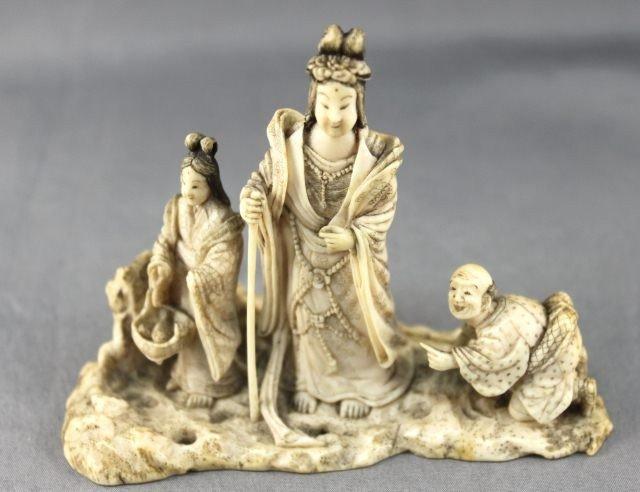 20: Well Carved Japanese Okimono Figure Group,