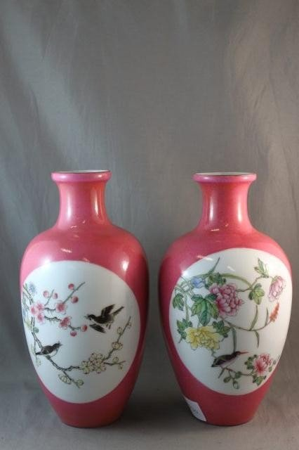 7A: Pair of Chinese Famille Rose Vases,