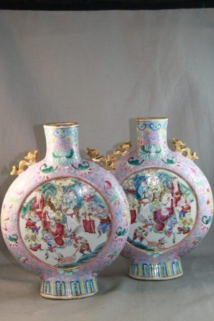 4: Good Pair of Chinese Late Qing Dynasty Moon Flask
