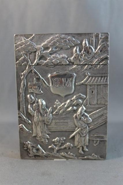 55: Superb Early 20th Century Chinese Silver Card Case