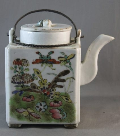 9: Chinese Polychrome Painted Porcelain Teapot,