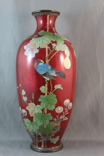 20A: Stunning Japanese Meiji Cloisonne Vase,