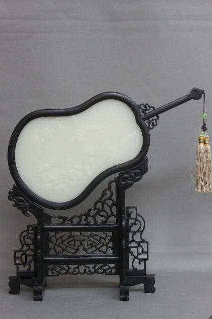 270: Chinese Carved Jade and Ebonised Table Fan,