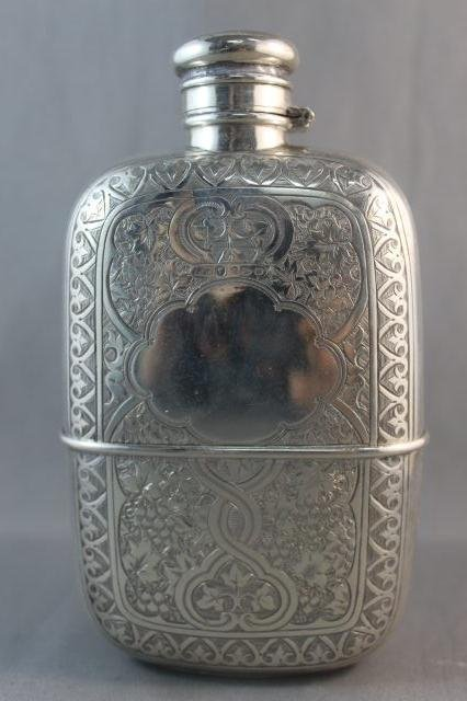 14: Victorian Sterling Silver Hip Flask,
