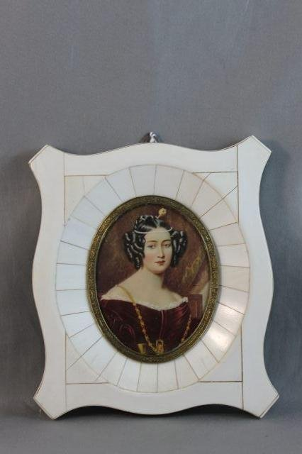 70: Finely Painted 19th Century Ivory Portrait