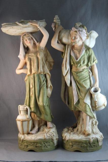 71: Pair of Large Royal Dux Porcelain Figures,