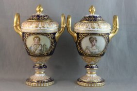 Pair Of 19th Century Vienna Porcelain Twin Handled