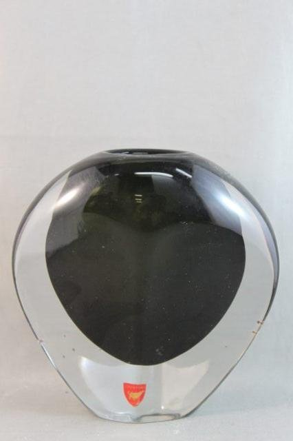 76: Good Orrefors Black and Clear Glass Vase,
