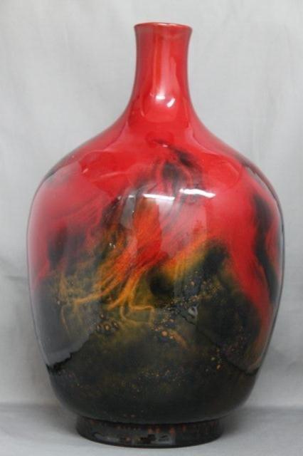 78: Wonderfully Large Royal Doulton Veined Flambe,