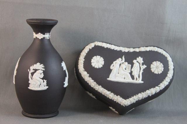 79: Wedgwood Black and White Jasperware Vase and