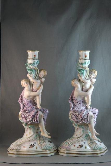 89: Pair of 19th Century Meissen Figural Candlesticks,