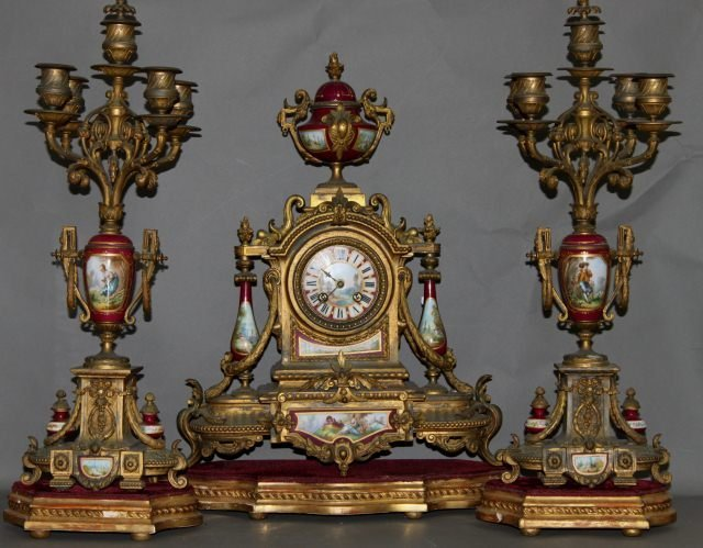 112: 19th Century French Gilt and Porcelain Clock