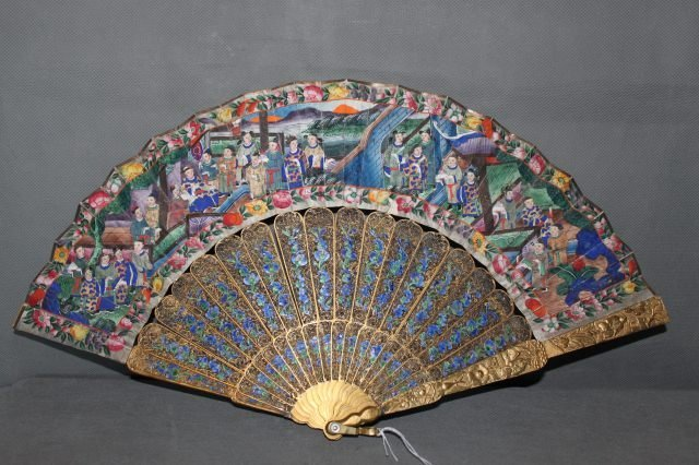 194: Chinese, Qing Dynasty, Late 19th Century Fan,