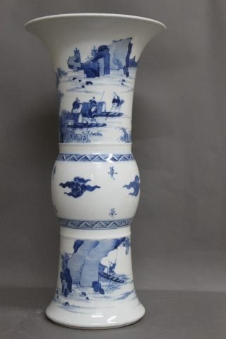 13: Chinese Blue and White Porcelain Gu Vase,