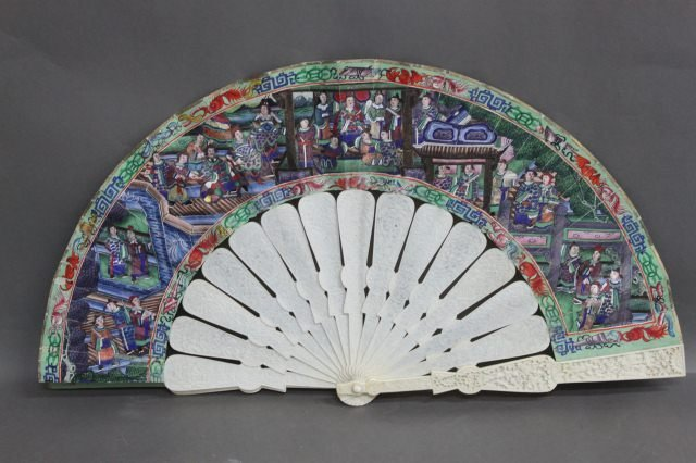 17: Stunning Chinese Qing Dynasty, 19th Century Fan