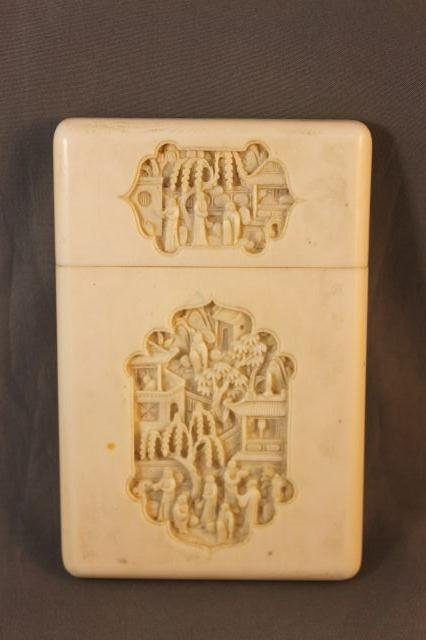 18: Chinese Qing Dynasty, 19th Century Ivory Card