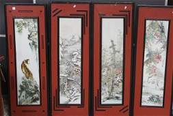 359: Set of Four Chinese Painted Porcelain Panels,