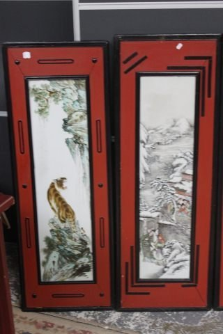 359: Set of Four Chinese Painted Porcelain Panels, - 2