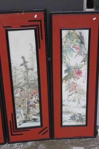 359: Set of Four Chinese Painted Porcelain Panels, - 3