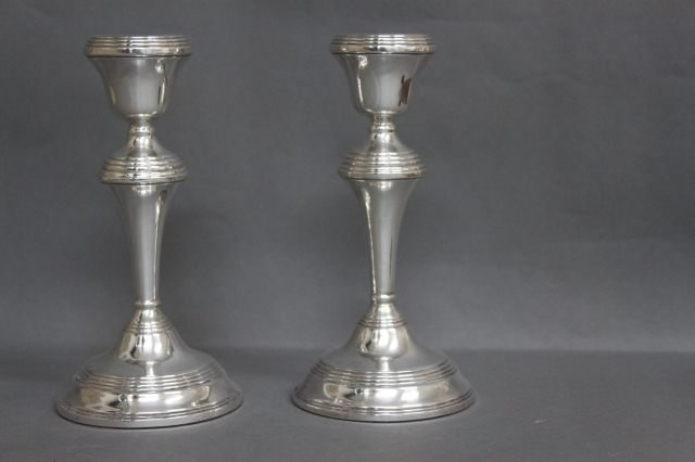 4: Pair of English Sterling Silver Candlesticks,
