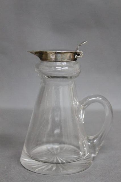 16: English Sterling Silver and Crystal Creamer,