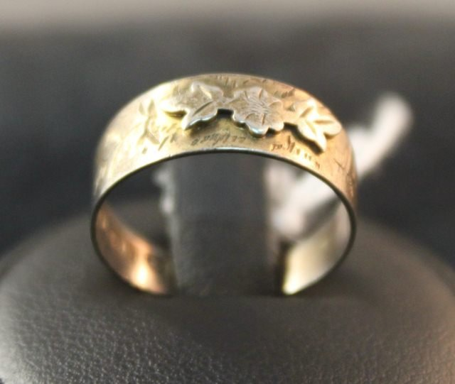 146: Victorian Gilt Silver Engraved Ring,