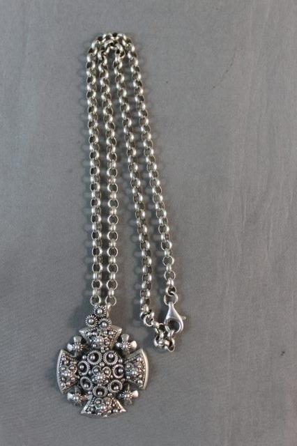 162: Israeli Sterling Silver Cruciform Pendent,