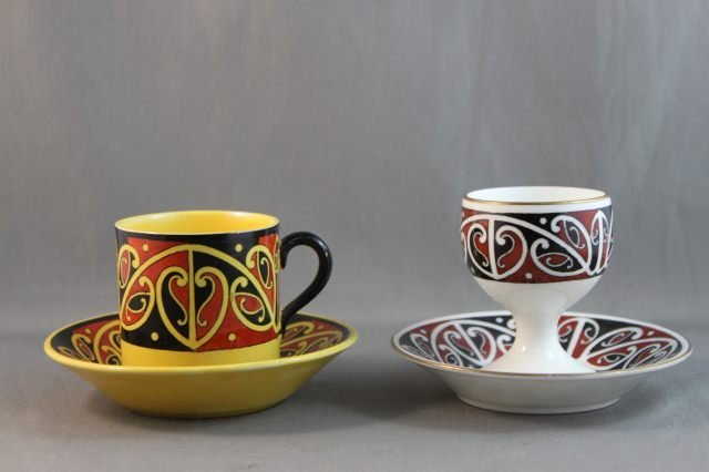 """374: Royal Doulton """"Maori Art"""" Cup and Saucer, together"""
