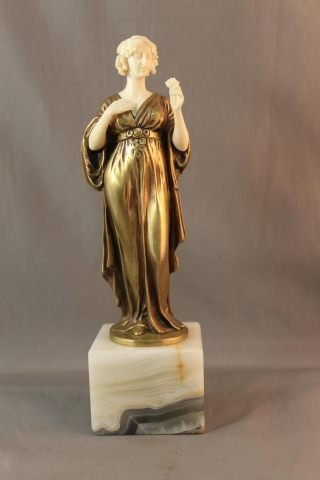 2: Art Deco Gilt Bronze and Ivory Figure by Ferdinand