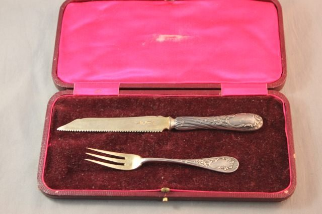 15: Boxed Russian Silver Christening Knife and Fork,
